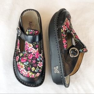 Alegria Leather Open Back Mary Jane Clogs Floral